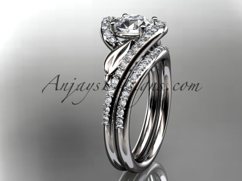 "14k white gold diamond leaf and vine wedding ring, engagement set with a ""Forever One"" Moissanite center stone ADLR317S"