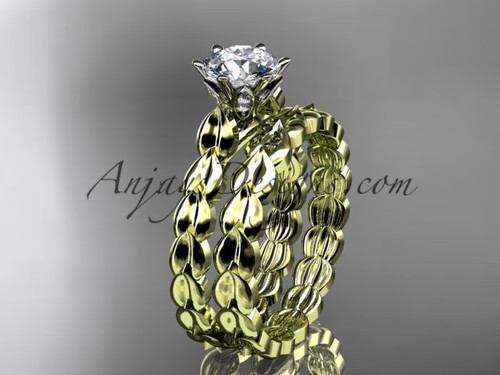 """14k yellow gold diamond vine and leaf wedding ring, engagement set with a """"Forever One"""" Moissanite center stone ADLR35S"""