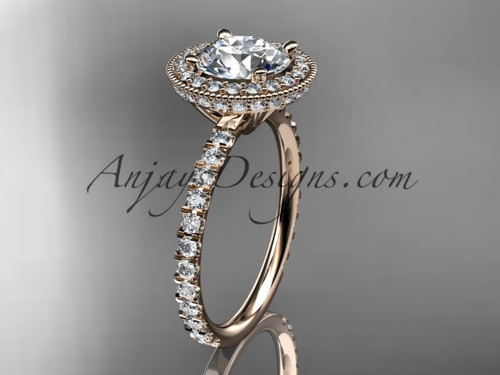 14kt rose gold diamond unique engagement ring, wedding ring ADER106
