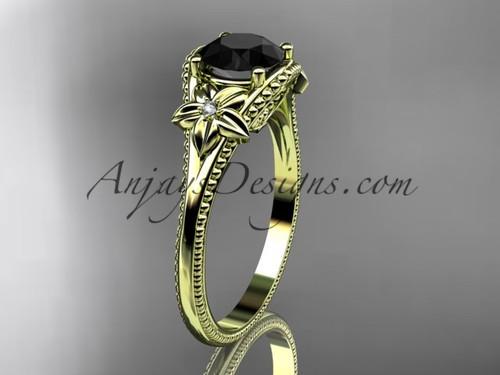 Black Diamond center Yellow Gold Flower Wedding Ring ADLR375