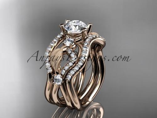 14kt Rose Gold Diamond Leaf Wedding Ring Engagement Ring