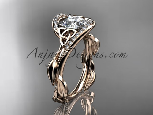 Scottish Celtic Wedding Ring Rose Gold Moissanite CT764