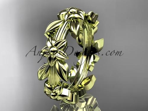 14kt yellow gold leaf wedding ring,engagement ring, wedding band ADLR316G