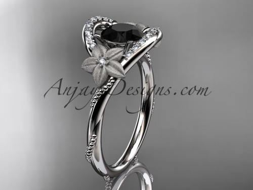 14kt white gold diamond unique engagement ring with a Black Diamond center stone ADLR166
