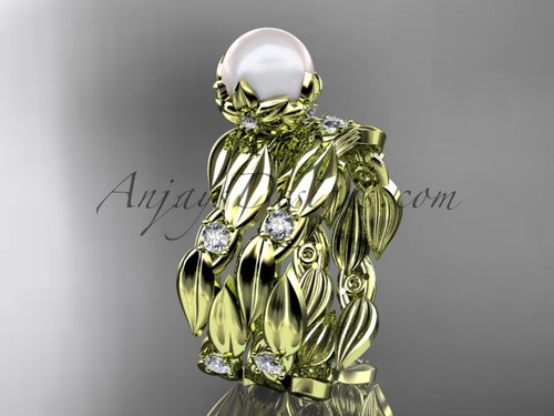 Pearl Bridal Ring Sets - Yellow Gold Flower Ring AP58S
