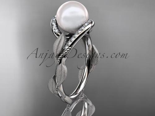 Pearl Diamond Engagement Ring - White Gold Leaf Ring AP64