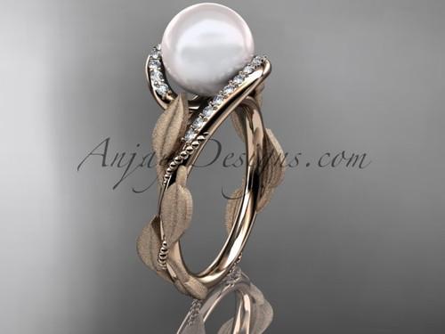 Pearl Diamond Engagement Ring - Rose Gold Leaf Ring AP64