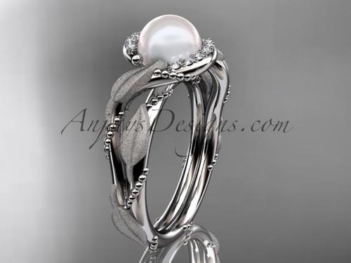 Diamond Pearl Vine & Leaf White Gold Engagement Ring AP65