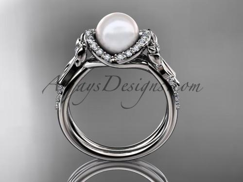 bow wedding ring white gold diamond pearl ring AP155
