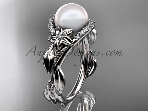 14kt white gold diamond pearl unique engagement ring AP326