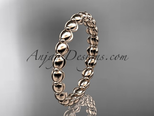 14k rose gold wedding ring, engagement ring, wedding band ADLR34B