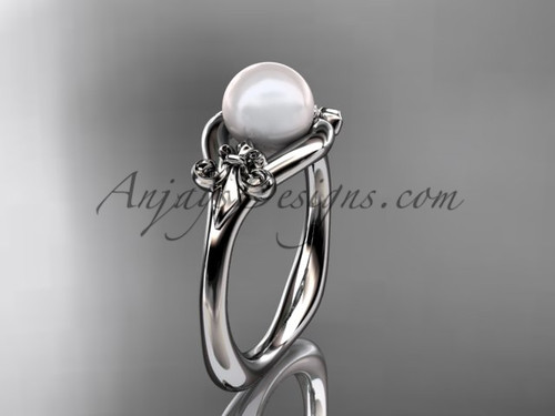 14kt white gold Fleur de Lis pearl engagement ring VP10022
