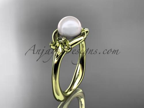 14kt yellow gold Fleur de Lis pearl engagement ring VP10022