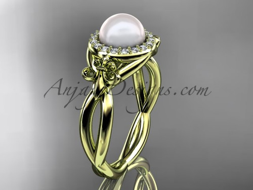 14kt yellow gold diamond Fleur de Lis pearl engagement ring VP10023