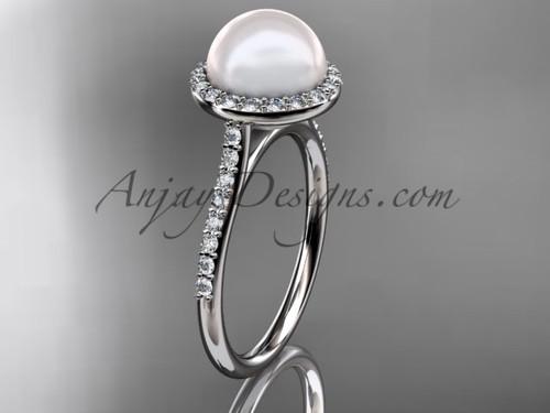 Unique 14kt white gold diamond pearl engagement ring VP10030