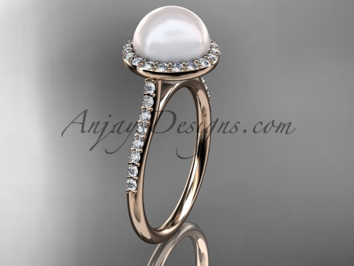 Unique 14kt rose gold diamond pearl engagement ring VP10030