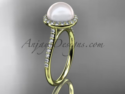 Unique 14kt yellow gold diamond pearl engagement ring VP10030