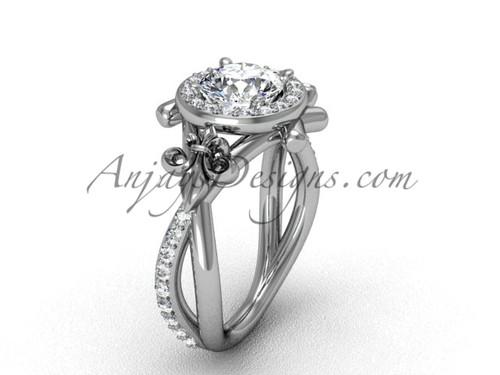 """14kt white gold diamond Fleur de Lis, halo, eternity, """"Forever One"""" Moissanite engagement ring VD20889"""