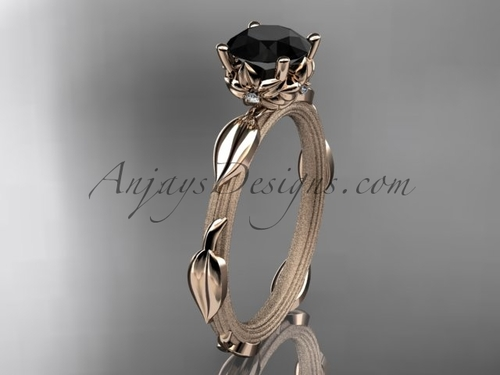 14k rose gold diamond vine and leaf wedding ring, engagement ring with a Black Diamond center stone ADLR290