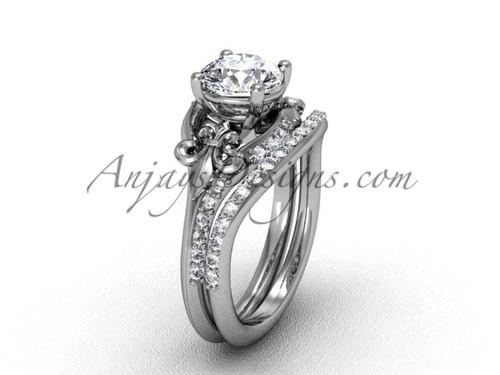 14kt white gold diamond Fleur de Lis wedding band eternity