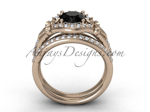 14kt rose gold diamond Fleur de Liswedding band eternity