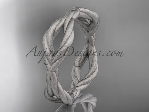 14k white gold rope matte finish wedding band RP898