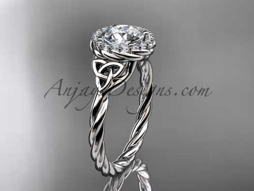 14kt white gold rope celtic engagement ring RPCT997