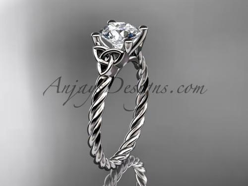 Platinum rope triquetra celtic engagement ring RPCT9116