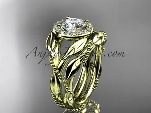 14kt yellow gold moissanite leaf engagement set adlr328s