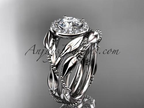 Platinum moissanite leaf engagement set adlr328s