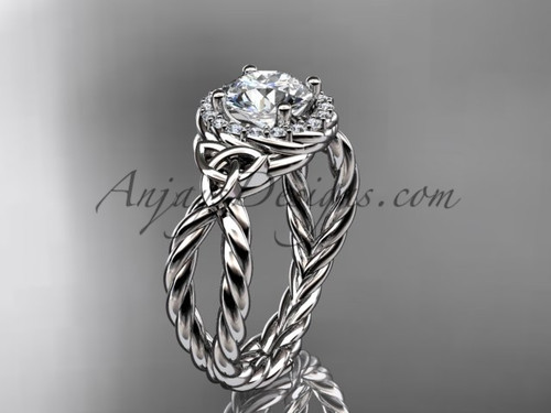 Triquetra Celtic Diamond Engagement Ring In K White Gold