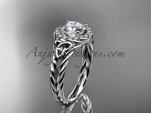 14k white gold halo rope triquetra engagement ring RPCT9131