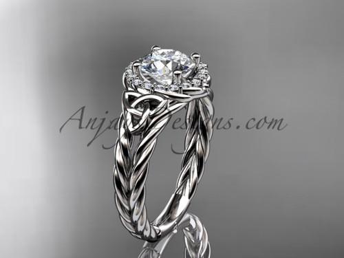 platinum halo rope moissanite engagement ring RPCT9131