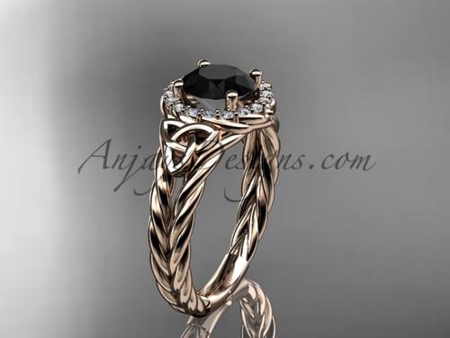 14k rose gold halo rope black diamond wedding ring RPCT9131