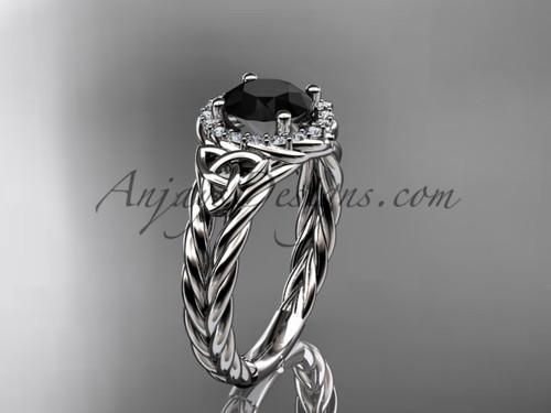 platinum halo rope black diamond engagement ring RPCT9131