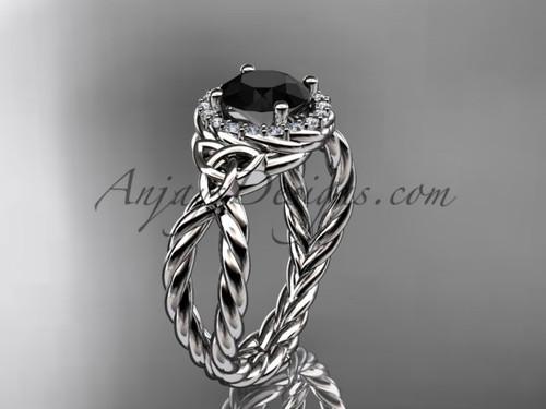 14k white gold rope black diamond engagement ring RPCT9127
