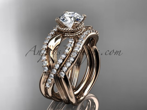 Rose Gold Double Band with Moissanite Bridal Ring ADLR70S