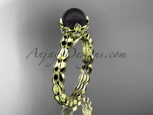 Yellow Gold Black Pearl And Diamond Engagement Ring ABP35