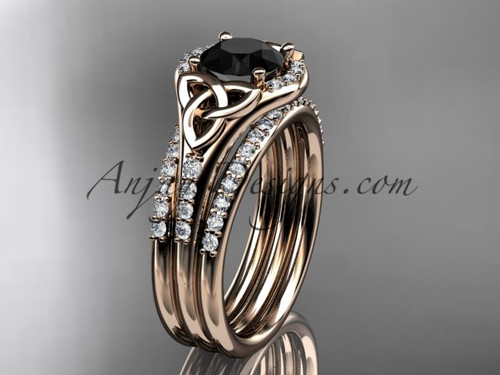 14kt rose gold diamond celtic trinity knot wedding ring, engagement ring with a Black Diamond center stone and double matching band CT7126S