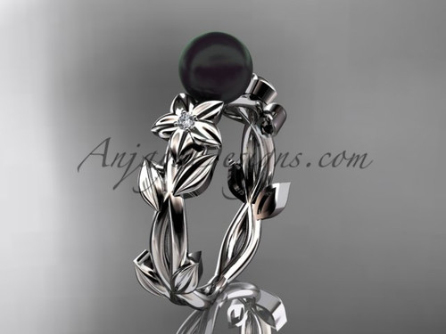Black Pearl and Diamond Engagement Rings White Gold ABP424