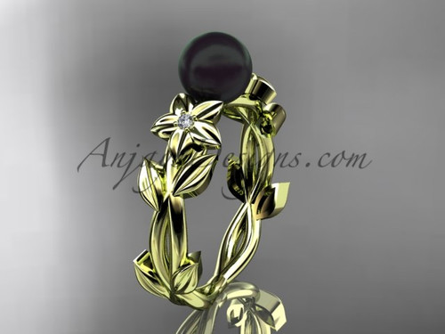 Black Pearl and Diamond Engagement Rings Yellow Gold ABP424