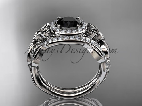 ... Black Diamond Celtic Wedding Ring Sets Platinum Floral Bridal Set  CT7300S ...