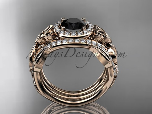 Double Band Black Diamond Ring For Women 14kt Rose Gold Celtic Trinity Knot Wedding