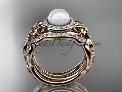 Halo Diamond Pearl Matching Engagement Rings 14kt Rose Gold Unique Wedding Ring Ap300s