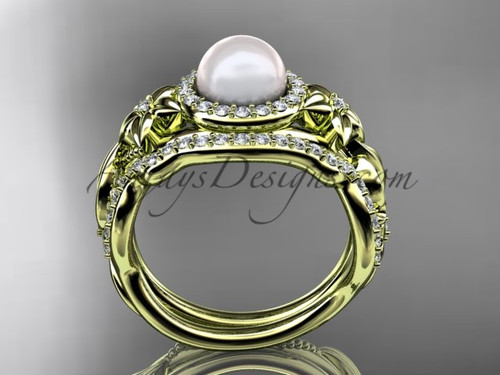 Pearl Wedding Ring Sets Yellow Gold Halo Ring AP300S