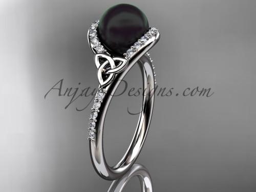 Black Pearl Celtic Engagement Rings Platinum Ring CTBP7317