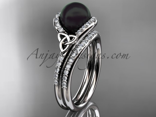 Celtic Engagement Ring White Gold Black Pearl Set CTBP7317S