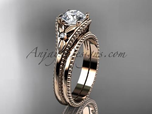 Charles & Colvard Forever One Moissanite Rose Gold Flower Unusual Bridal Set ADLR377S