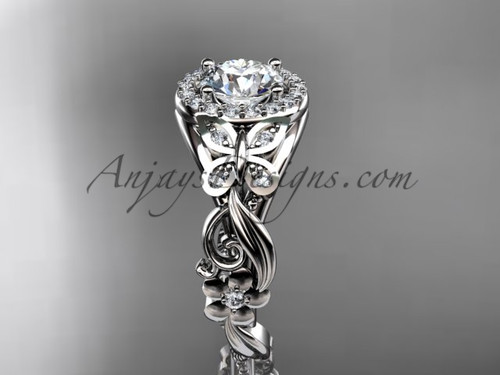 Find the Unique Engagement Rings online at anjaysdesigns.com Free shipping. Diamond Butterfly Rings - Platinum wedding ring ADLR525