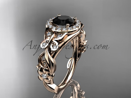 Butterfly Engagement Rings Rose Gold Black Diamond Ring ADLR525